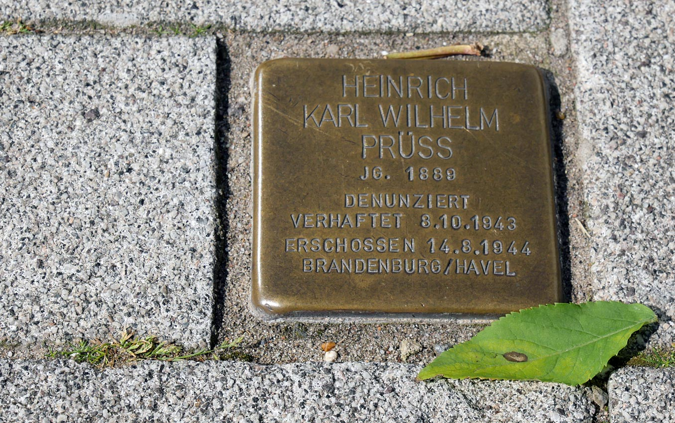 Stolpersteien: Heinrich Karl Wilhelm Prüss | Bild: Andreas Bubrowski