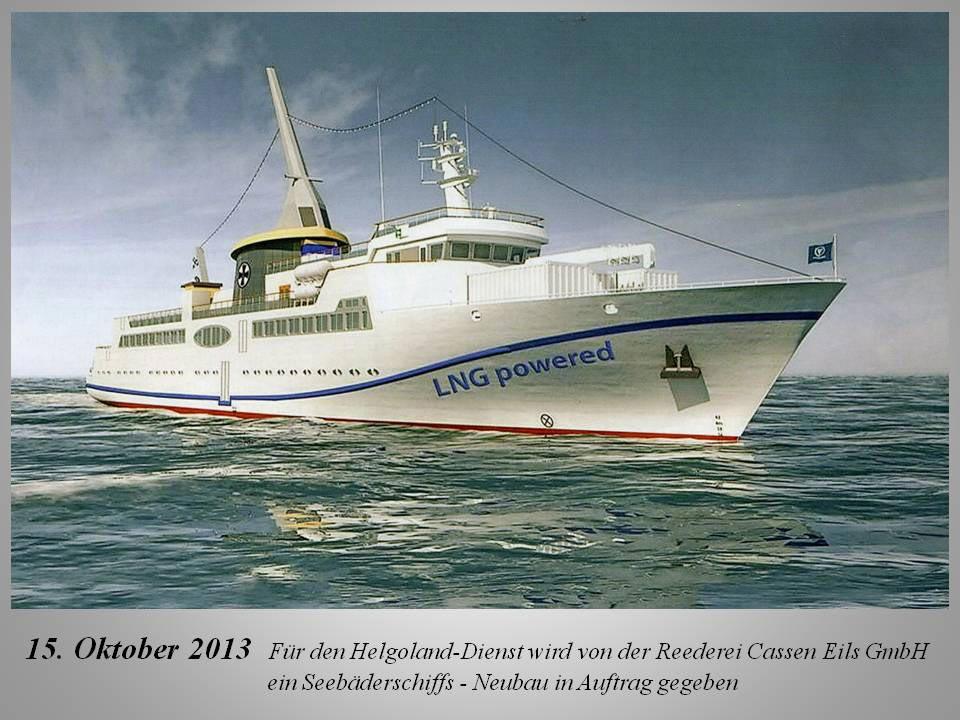 Inzwischen ist das Versorgungs- und Fahrgastschiff der Reederei Eils, die HELGOLAND, im Einsatz und begeistert Helgoländer und deren Gäste. Abb.: Förderverein Museum Helgoland